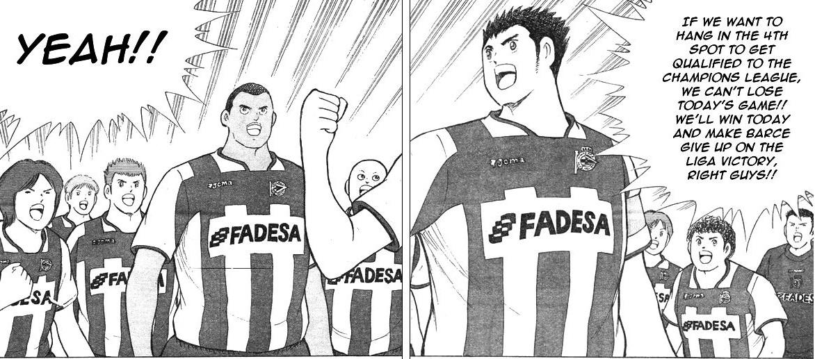 Hoja del manga Captain Tsubasa con personajes inspirados en jugadores del Dépor.